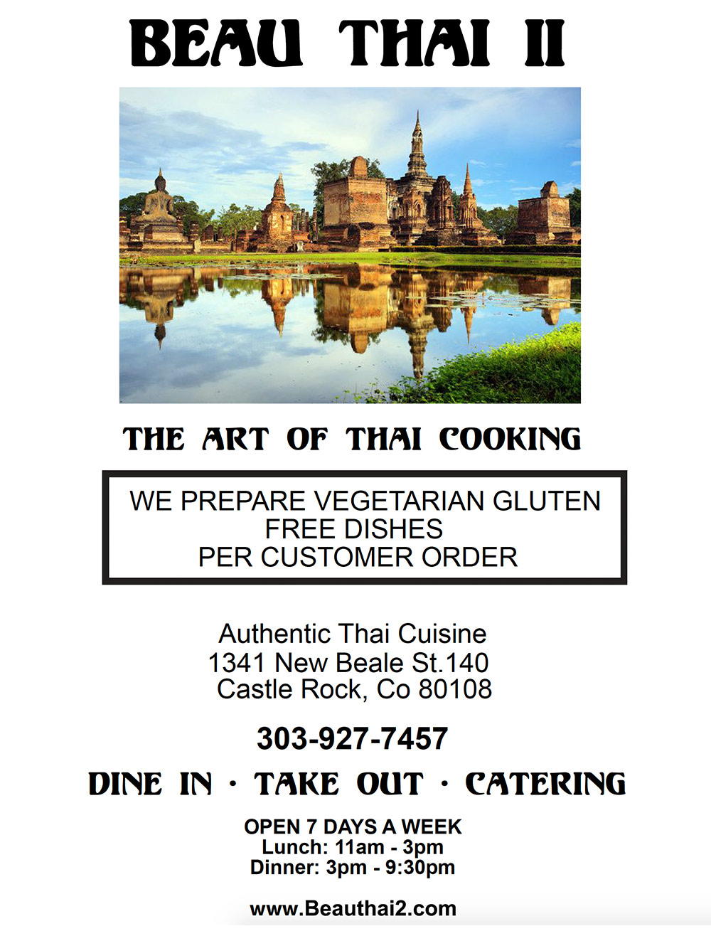 Beau Thai 2 - Castle Rock, Colorado - Menu Title Page