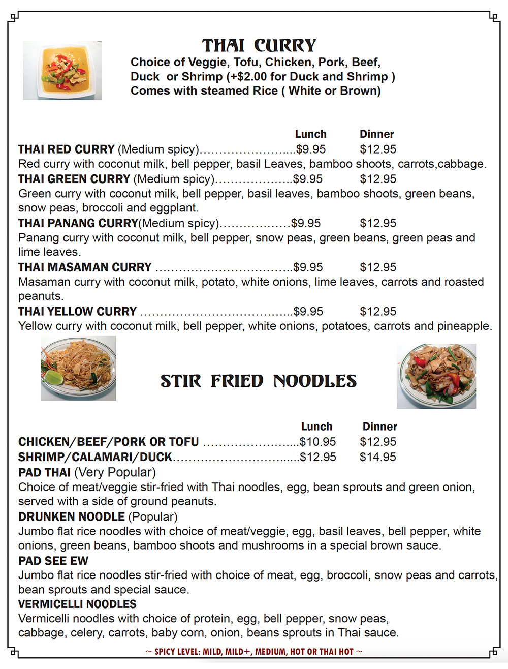 Beau Thai 2 - Castle Rock, Colorado - Menu Page Two